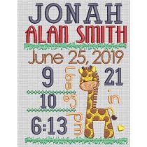 Giraffe Birth Announcement Template Machine Embroidery Designs by JuJu