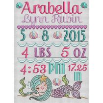 Mermaid Birth Announcement Template Machine Embroidery Designs by JuJu