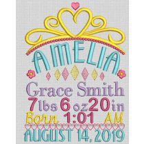 Princess Birth Announcement Template Machine Embroidery Designs by JuJu