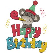 Happy Birthday Sock Monkeys Filled stitch machine embroidery Designs by JuJu