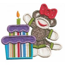Happy Birthday Sock Monkeys Applique machine embroidery Designs by JuJu