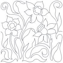 Daffodils End-to-End Quilting Machine Embroidery Pattern Designs by JuJu for Edge to Edge Continuous Line Allover E2E Quilting With Your Embroidery Machine
