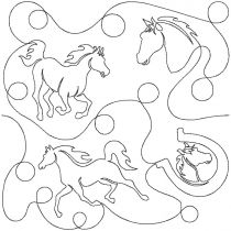 Horses End-to-End E2E Allover Edge to Edge Quilting Machine Embroidery Designs by JuJu