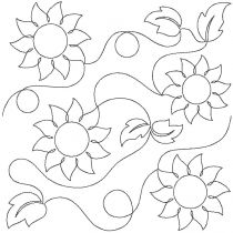 Sunflowers End-to-End E2E Allover Edge to Edge Quilting Machine Embroidery Designs by JuJu