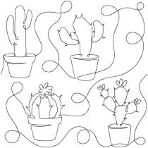 Cactus 1 End to End Quilting Designs by JuJu Exclusive Machine Embroidery
