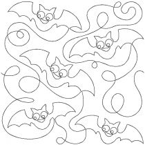 Halloween Bats End to End Quilting Digital Machine Embroidery Designs by JuJu