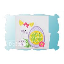 Bunny with Easter Egg Monogram Girl Applique