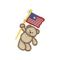 Fuzzy Patriotic Bears Applique