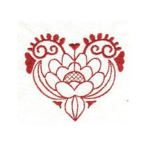 Jacobean Hearts Redwork