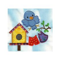 Bluebirds and Birdhouses Applique