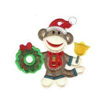 Christmas Sock Monkeys Applique