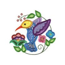 Jumbo Jacobean Hummingbirds Applique