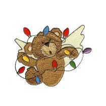 Cute christmas teddy bear embroidery design tangled in lights