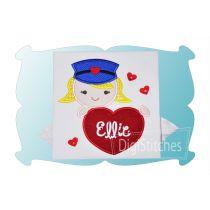 Valentine Mail Carrier Girl Applique