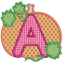 Pumpkin Applique Alphabet Machine Embroidery Designs By JuJu