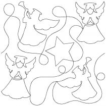 Angels and Stars Edge-To-Edge Embroidery Design End-to-End Quilt Block by JuJu e2e