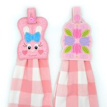 Bunny and Tulip In The Hoop Easter Towel Hanger Toppers Designs by JuJu Machine Embroidery Designs
