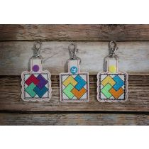 In The Hoop Snap Tab Key Fob Card Tricks Quilt Block Designs by JuJu Machine Embroidery Designs