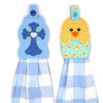 Cross and Easter Chick In The Hoop Towel Hanger Toppers Designs by JuJu Machine Embroidery Designs