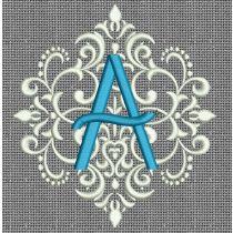 Elegant Damask Monogram Alphabet Machine Embroidery Designs by JuJu