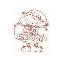 Christmas Elves Redwork