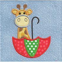Cute giraffe in umbrella applique stipple quilt block machine embroidery design