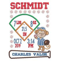 Baseball Monkey Birth Announcement Template