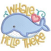 Cute Whales Applique Machine Embroidery Designs by JuJu