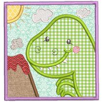 Dino Squares Applique Machine Embroidery Designs By JuJu