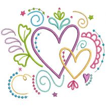 Doodle Hearts Filled Stitch Machine Embroidery Designs By JuJu