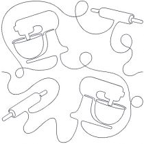 Kitchen 2 Rolling Pin Mixer Baking End-to-End Quilting Machine Embroidery Pattern Designs by JuJu for Edge to Edge Continuous Line Allover E2E Quilting With Your Embroidery Machine