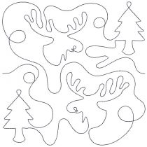 Moose and Trees End-to-End Quilting Machine Embroidery Pattern Designs by JuJu for Edge to Edge Continuous Line Allover E2E Quilting With Your Embroidery Machine