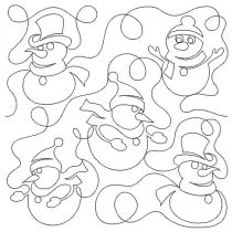 Snowman Snowmen End-to-End Quilting Machine Embroidery Pattern Designs by JuJu for Edge to Edge Continuous Line Allover E2E Quilting With Your Embroidery Machine