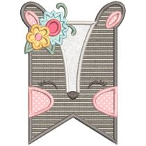 Girl Woodland Animal Flags Machine Embroidery Designs By JuJu