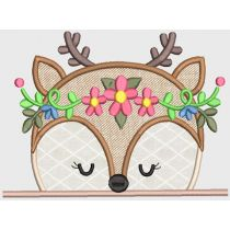 Girly Animal Peekers Hooded Towel Applique Embroidery Design Patterns
