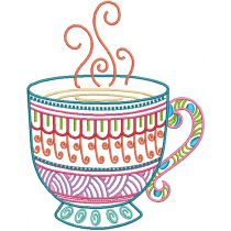 Mehndi Tea Time Machine Embroidery Designs by JuJu