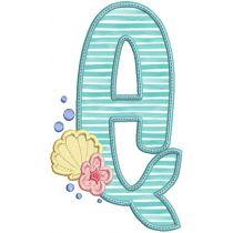 Mermaid Applique Alphabet Machine Embroidery Designs By JuJu