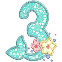 Mermaid Applique Numbers Machine Embroidery Designs By JuJu