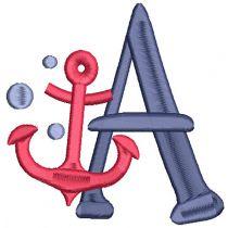 Nautical Alphabet Filled Machine Embroidery Designs by JuJu