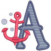 Nautical Applique Alphabet Machine Embroidery Designs by JuJu