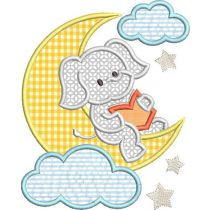 Reading Pillow Applique Machine Embroidery Designs by JuJu Reading on the Moon