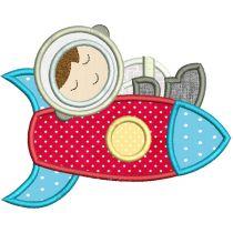 Sleepy Astronauts Applique Machine Embroidery Designs By JuJu