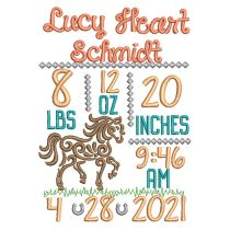 Swirly Horse Birth Announcement Template