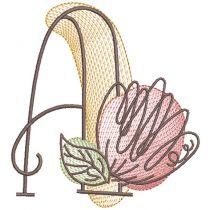 Vintage Sketch Blooming Alphabet