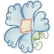 Vintage Sketch Floral Embroidery Design Pattern