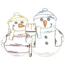 Vintage Stitch Sweet Snowmen Machine Embroidery Designs by JuJu