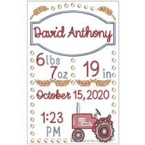 Vintage Tractor Birth Announcement
