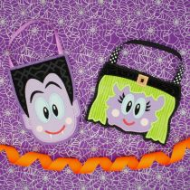 In the Hoop Halloween Treat Bags Machine Embroidery Applique Designs by JuJu Dracula and cute witch