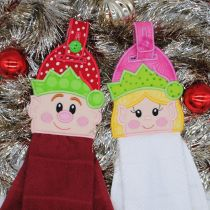 Designs by JuJu In The Hoop Machine Embroidery Designs Boy Elf Girl Elf Towel Hangers toppers