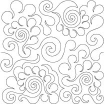 Feathers 3 Edge-To-Edge Embroidery Design End-to-End Quilt Block Pattern by JuJu e2e